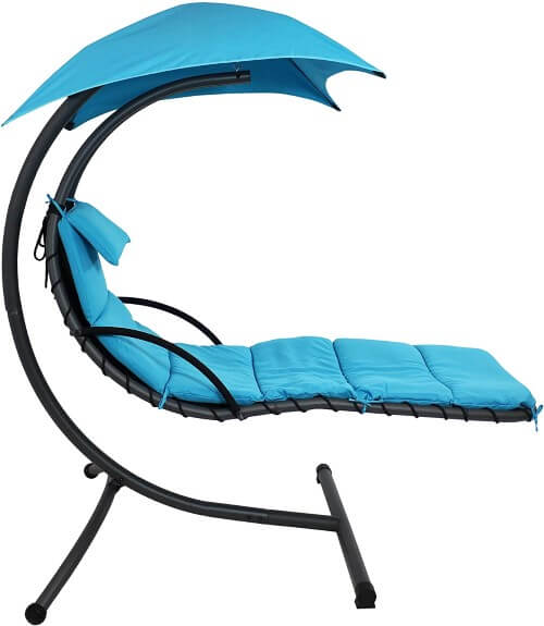 Sunnydaze Floating Chaise Lounger, Outdoor Hanging Hammock Patio Swing Chair